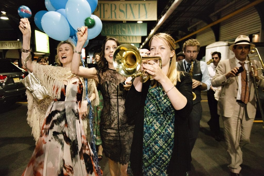 wedding jazz band NYC with march parade clarinet trumpet banjo
